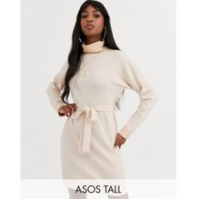 エイソス ASOS Tall レディース ワンピース ミドル丈 ワンピース・ドレス ASOS DESIGN Tall cowl neck belted midi dress in marl オート