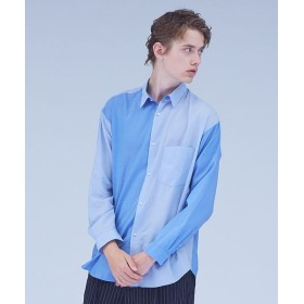 ABAHOUSE/アバハウス 【MYSELF ABAHOUSE】パッチワークレギュラーオーバーシャツ ブルー S