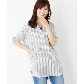 SHOO・LA・RUE/シューラルー 【2点セット】裾タックスキッパーシャツ+タンクセット ホワイト×ストライプ(301) 03(L)