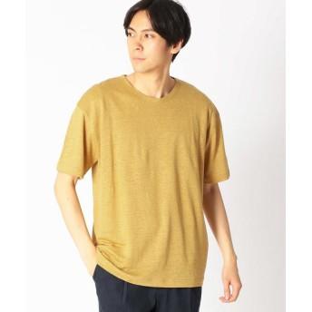COMME CA ISM/コムサイズム リネンクルーネックTシャツ マスタード XL