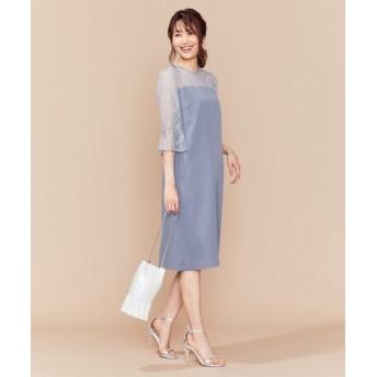 L size ONWARD(大きいサイズ)/エルサイズオンワード 【PRIER】トラペース袖ストレート ドレス ブルー系 7