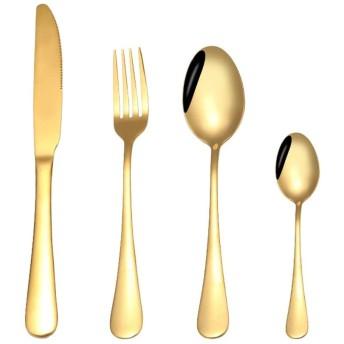 Danankan クロスブラックゴールドナイフとフォークスプーン高級西洋料理4ピースステンレススチールステーキナイフとフォークスプーン (色 : ゴールド)
