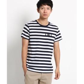 Dessin/デッサン ボーダーロゴフロッキーTシャツ ネイビー(293) 02(M)