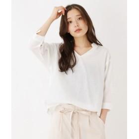 pink adobe/ピンクアドベ コットンリネン スキッパーシャツ オフホワイト(003) 40(L)