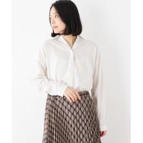 pink adobe/ピンクアドベ スパンブロード素材 スキッパーシャツ オフホワイト(003) 40(L)