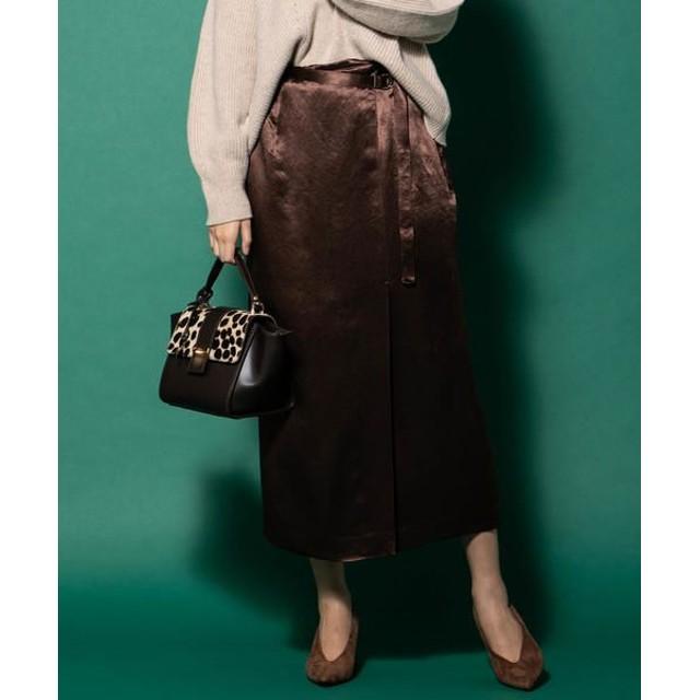 VICKY/ビッキー サテンラップスカート ブラウン XS