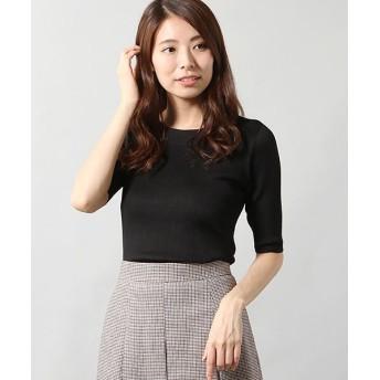 ANAYI/アナイ アセテートポリエステル半袖プルオーバー ブラック 38