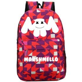 Marshmello リュック・バックパック ソリッドカラーのコンピュータバックパックスクールバックパッククラシックデイパック撥水ラップトップバッグ用トラベル DJ Marshmello リュック・バックパック (Color : Red02, Size : 31 X 13 X 45cm)