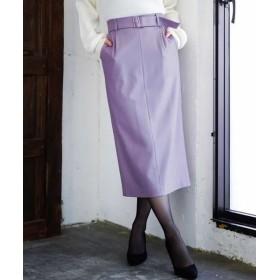 MK MICHEL KLEIN/エムケーミッシェルクラン 【洗濯機で洗える】ベルト付きナロースカート ラベンダー 38