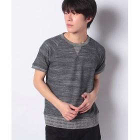 GIORDANOM [GIORDANO]段杢裏毛Tシャツ(スミクロ)【返品不可商品】