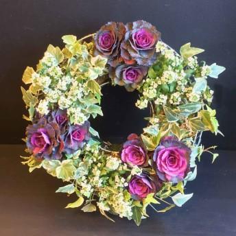【35cm/M】葉牡丹とアリッサムのグローイングリース/寄せ植え【クリスマス・お正月】