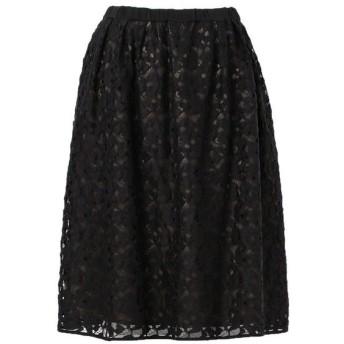 TO BE CHIC (大きいサイズ)/トゥー ビー シック (オオキイサイズ) 【L】ジオレトリックリバーレーススカート ブラック 46