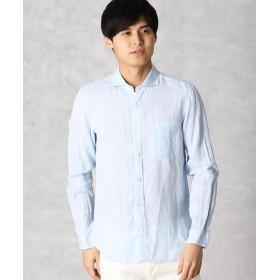 COMME CA MEN/コムサ・メン フレンチリネン カラーシャツ サックス M