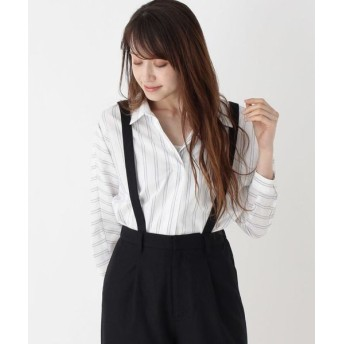 SHOO・LA・RUE/シューラルー ストライプスキッパーシャツ オフホワイト(303) 02(M)