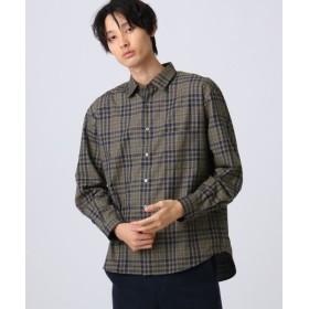 tk. TAKEO KIKUCHI/ティーケー タケオキクチ ポリネルチェックシャツ ブラウン(242) 04(LL)