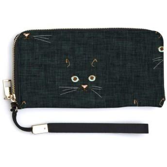 猫の顔の黒いテクスチャ1 長財布 財布 男女兼用 高級感あり 滑り止め 大容量 スマホ入れ可 取り出しやすい 人気 かわいい 小銭入れ ラウンドファスナー 収納箱付 ウォレット 新年のプレゼント