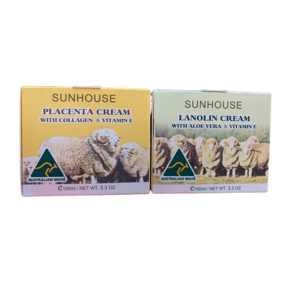 潼漾小舖 sunhouse澳洲金莎 膠原蛋白緊實乳霜(黃)/天然維他命滋養乳霜(綠)