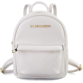 [La Dearchuu]ミニリュック レディース ミニリュックサック バックパック 小型 軽量 PUレザー かわいい 女の子 学生 旅行 通勤 通学 プレゼント ホワイト