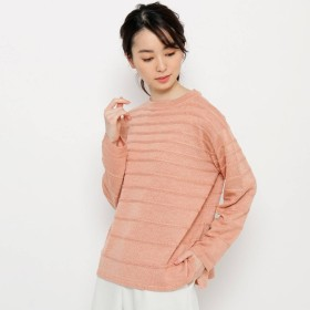スマートピンク smart pink 【手洗い可】ウールブレンドヤーンジャガードボーダー (ライトオレンジ)