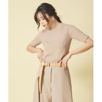 qualite/カリテ ウォッシャブルベーシックニットTシャツ ベージュ 38
