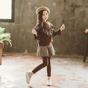 子供セット キッズ服 女の子 女の子 秋冬は子供 レトロな格子縞プラスベルベット 子供服ツーピース スーツを着ます 誕生日 入園式 プレゼント 可愛い KKOBOLI 子供服 (Color : Brown, Size : 120cm)
