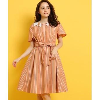 Couture Brooch/クチュールブローチ 配色レース付きストライプワンピース ライトオレンジ(366) 38(M)