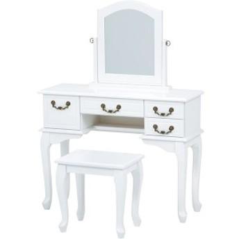 ドレッサー フェミニンシリーズ 収納付きテーブル/スツール(チェア) 木製 猫足 白(ホワイト)