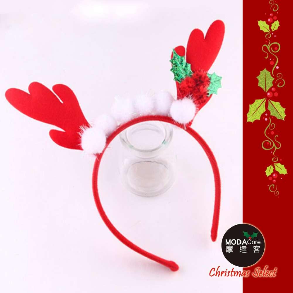 【摩達客】小白毛球紅鹿角聖誕髮箍 YS-PDH17004
