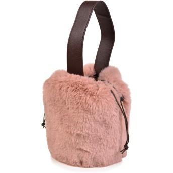 フェイクファー バッグ 鞄 斜め掛け ミニバッグ ワンハンドル ファー 巾着 3color (ピンク)