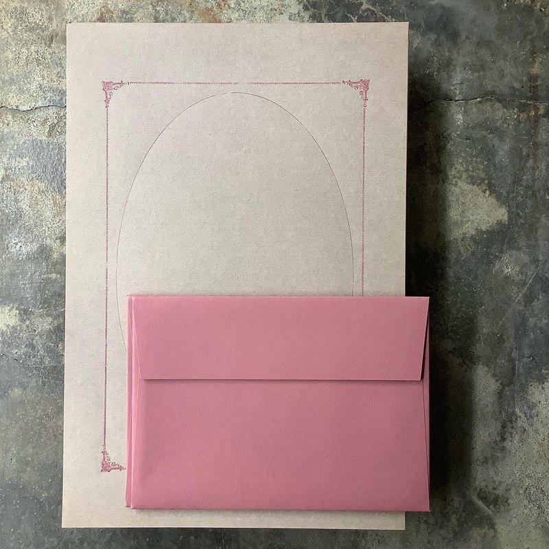 信紙組/Letterpress活版印刷/甜蜜回憶相框/紅茶色+野玫瑰色信封