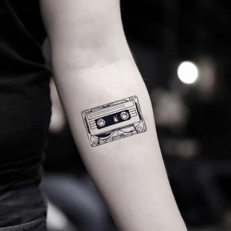 OhMyTat 盒式膠磁錄音帶 Cassette Tape 刺青圖案紋身貼紙 (2 張)