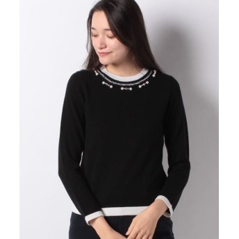 MADAM JOCONDE/マダムジョコンダ カシミヤ混パール刺繍 ニットプルオーバー ブラック 40