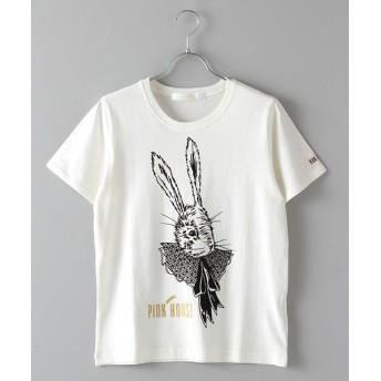 PINK HOUSE/ピンクハウス ラビットカラー手描きプリントTシャツ キナリ(チュール) L