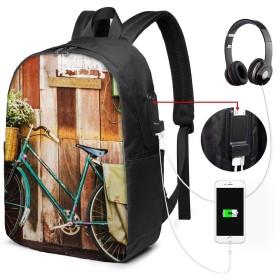 バックパック USB ポート搭載 17インチPC対応 自転車自転車花木製 大容量ビジネスリュック 通勤 通学 出張 旅行 メンズ レディース