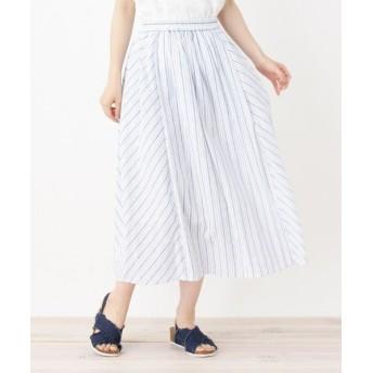 SHOO・LA・RUE/シューラルー バイヤス切り替えストライプスカート オフホワイト(303) 02(M)
