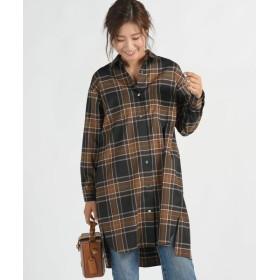 MAYSON GREY/メイソングレイ ビッグチェックチュニックシャツ ブラウン系その他 M