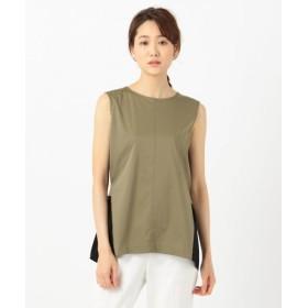 L size ONWARD(大きいサイズ)/エルサイズオンワード Fabric Combi Jersey ノースリーブ カットソー カーキ系7 L