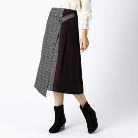 (コムサ イズム) COMME CA ISM チェック柄 ラップ風スカート 12-50FN08-109 S ブラック
