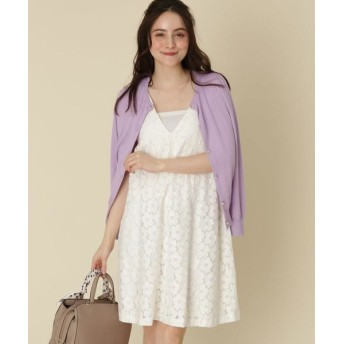 Couture Brooch/クチュールブローチ フラワーレースVネックワンピース オフホワイト(403) 38(M)