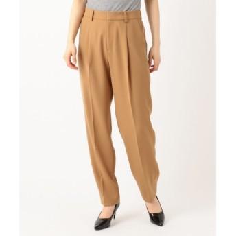 L size ONWARD(大きいサイズ)/エルサイズオンワード 【洗える】STRETCH DOUBLE SATIN パンツ キャメル系 46
