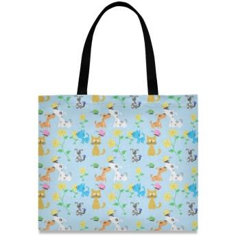 トートバッグ 学生 ハンドバッグ 手提げ キャンバス かわいい 花柄 猫柄 犬 動物 肩掛けバッグ 大容量 レディース 軽量 通勤 通学 おしゃれ