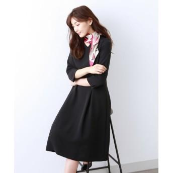 AMACA/アマカ 【Sサイズ〜】トリアセテートストレッチ ドレス ネイビー3 40