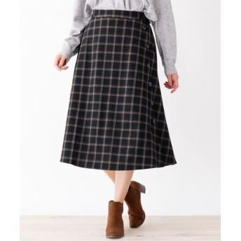 SHOO・LA・RUE/シューラルー 脇ボタンフレアスカート ブラック(219) 02(M)