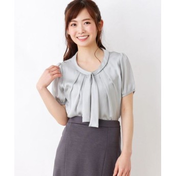 SOUP/スープ シルキー切替ボウタイシャツ ライトグリーン(021) 11(L)