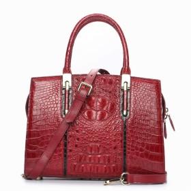 トートバッグ ビジネス クロコダイルレザーハンドバッグハンドバッグレザーレディースレザーショルダーバッグ おしゃれ 日常 (Color : Red, Size : M)
