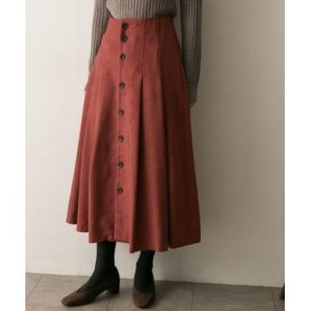 URBAN RESEARCH/アーバンリサーチ フロント釦フェイクスエードスカート RED 36