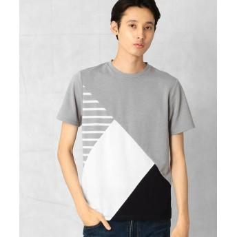 COMME CA MEN/コムサ・メン サーフニット 切り替えTシャツ グレー M