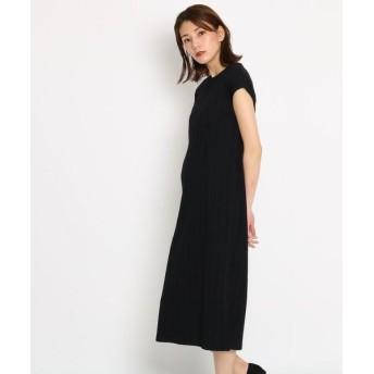 AG by aquagirl/エージー バイ アクアガール テレコ裾スリットロングワンピース ブラック(019) 38(M)