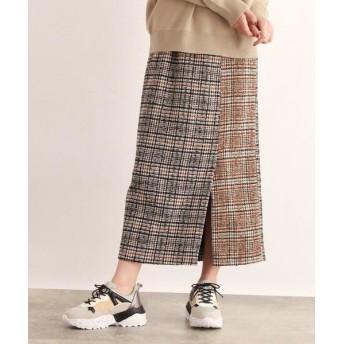 OZOC/オゾック チェック切替ナロースカート キャメル(141) 38(M)