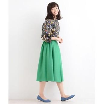 NIMES/ニーム ボイル×サテン リバーシブルスカート グリーン 0